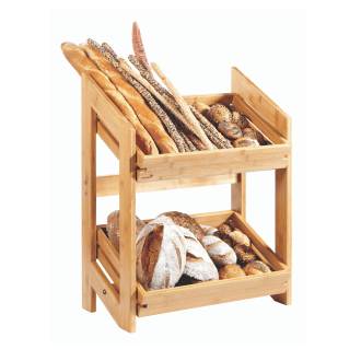 bakery Stand With 2 Trays in bamboo colour displaying bread