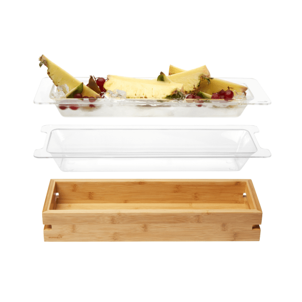 Medium Bamboo Tray with Clear Acrylic Insert with Tub