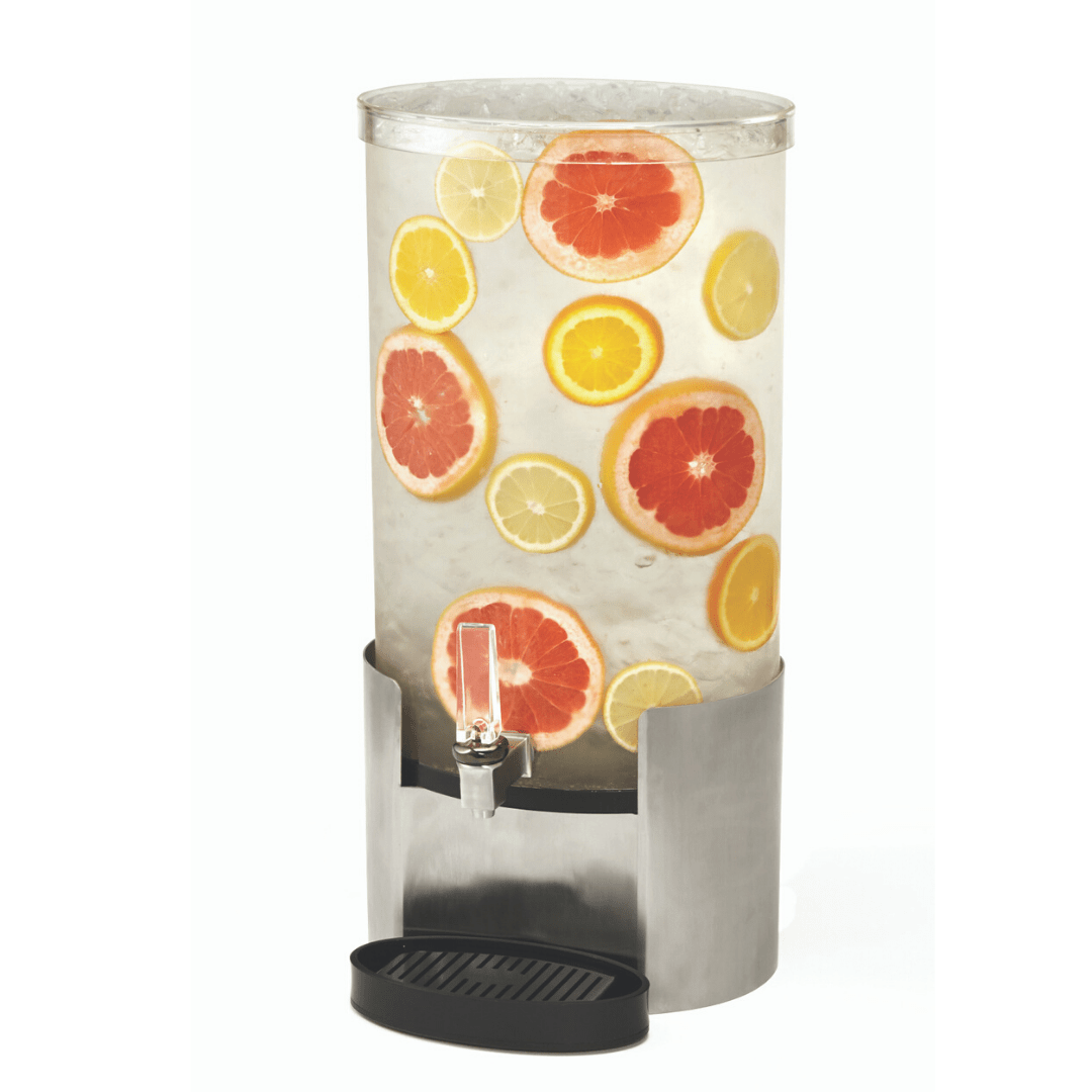 Elliptic water Dispenser with Stainless Steel base with citrus infused water