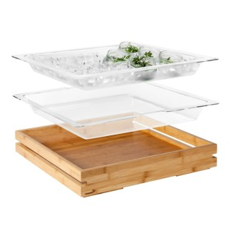 Rosseto Clear Acrylic Insert and Tub with Large Bamboo Tray