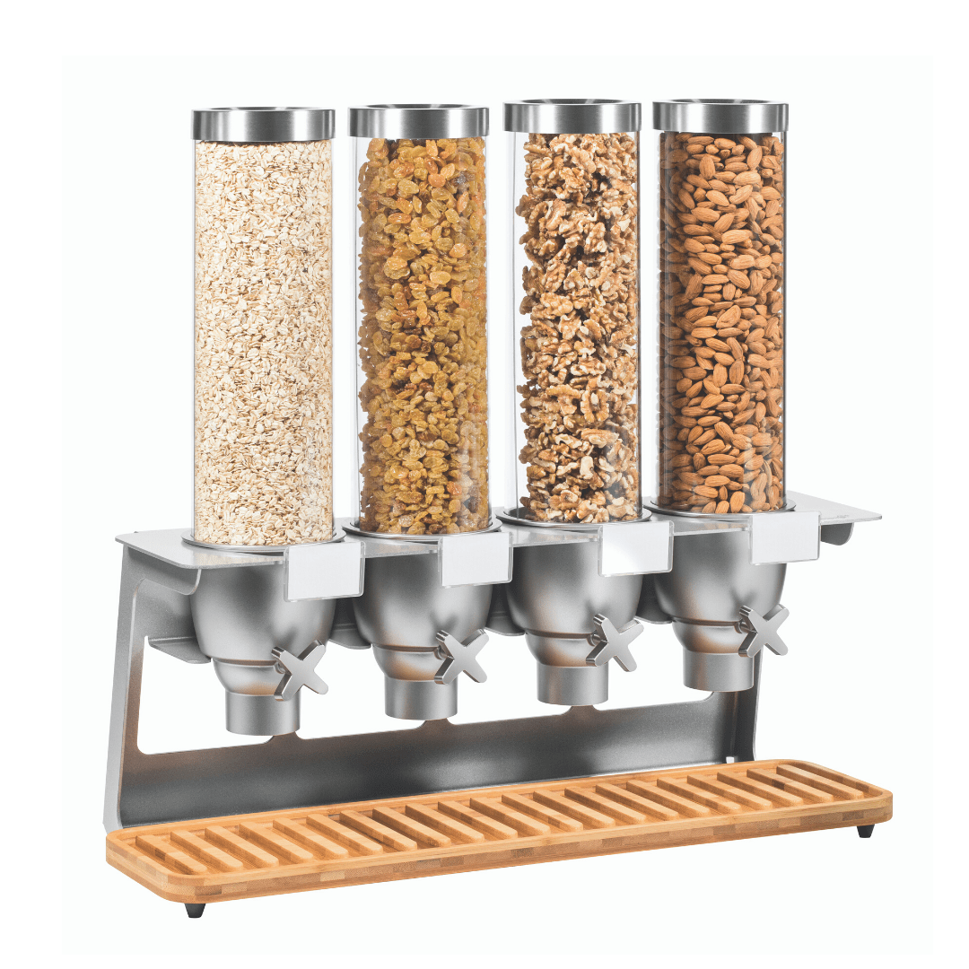 4 container food dispenser on stainless steel stand with different breakfast cereals
