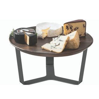 3 Leg Black Riser with Walnut Melamine Round Tray