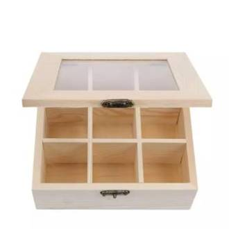 Tea chest - 9 compartment with window lid
