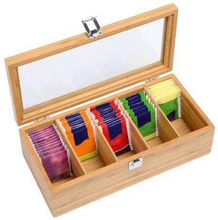 wooden tea chest 5 compartments