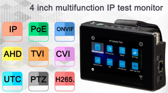 4'' Multifunction Tester Monitor for IP AHD TVI CVI CamerasBS