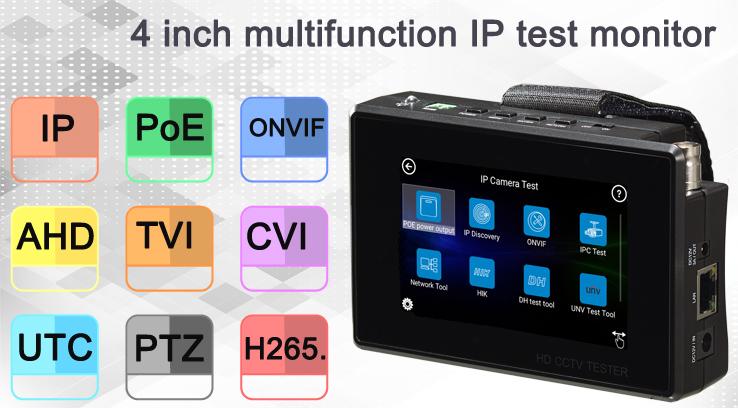 4'' Multifunction Tester Monitor for IP AHD TVI CVI CamerasBS