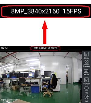Screen footage showed TVI 8MP 4K Camera