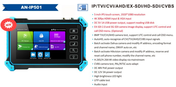 5-inch IP tester monitor