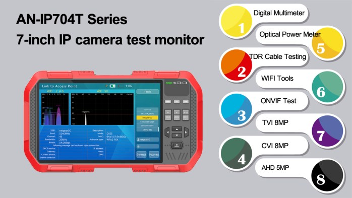 7'' CCTV IP camera tester
