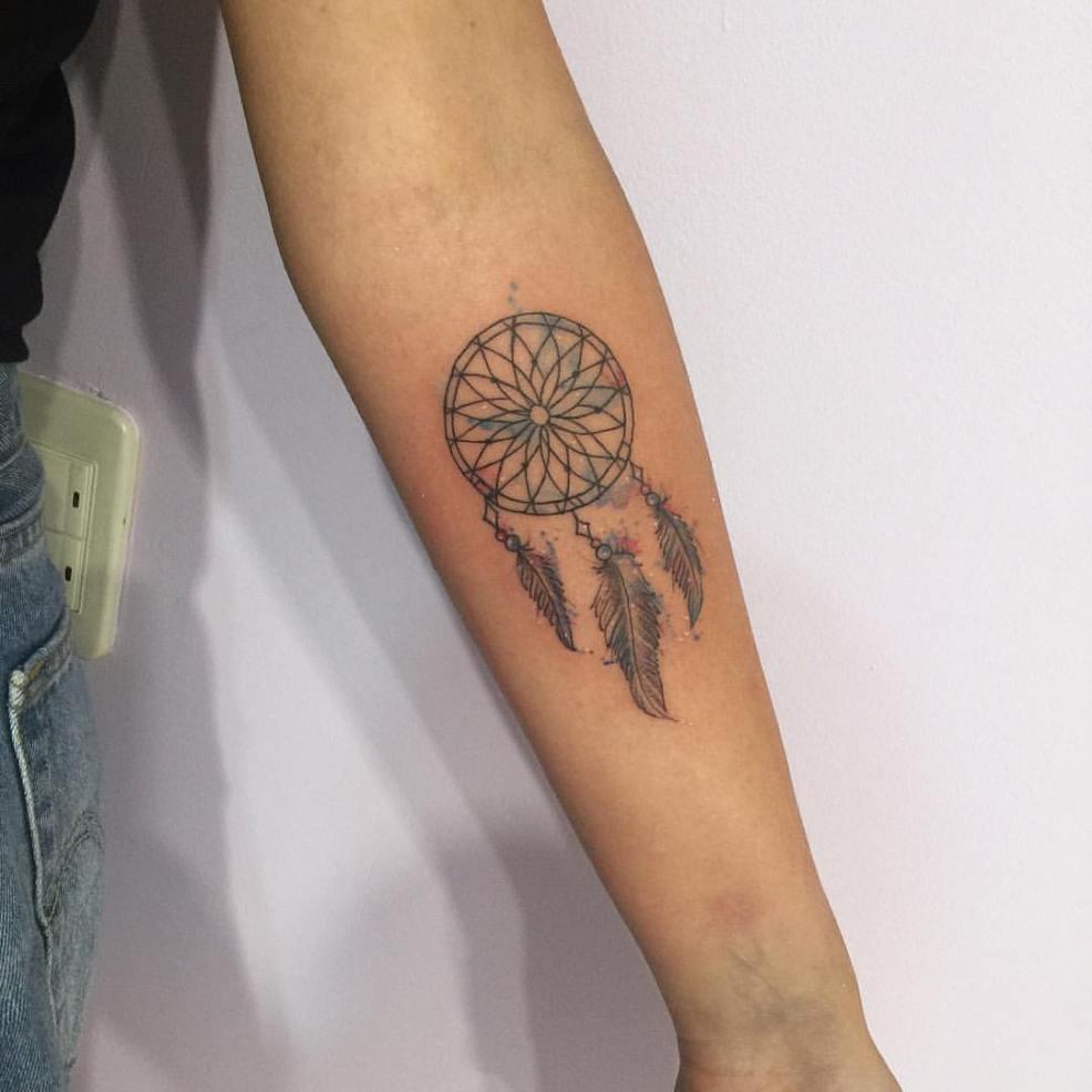 ловец снов в стиле акварель фото татуировок
