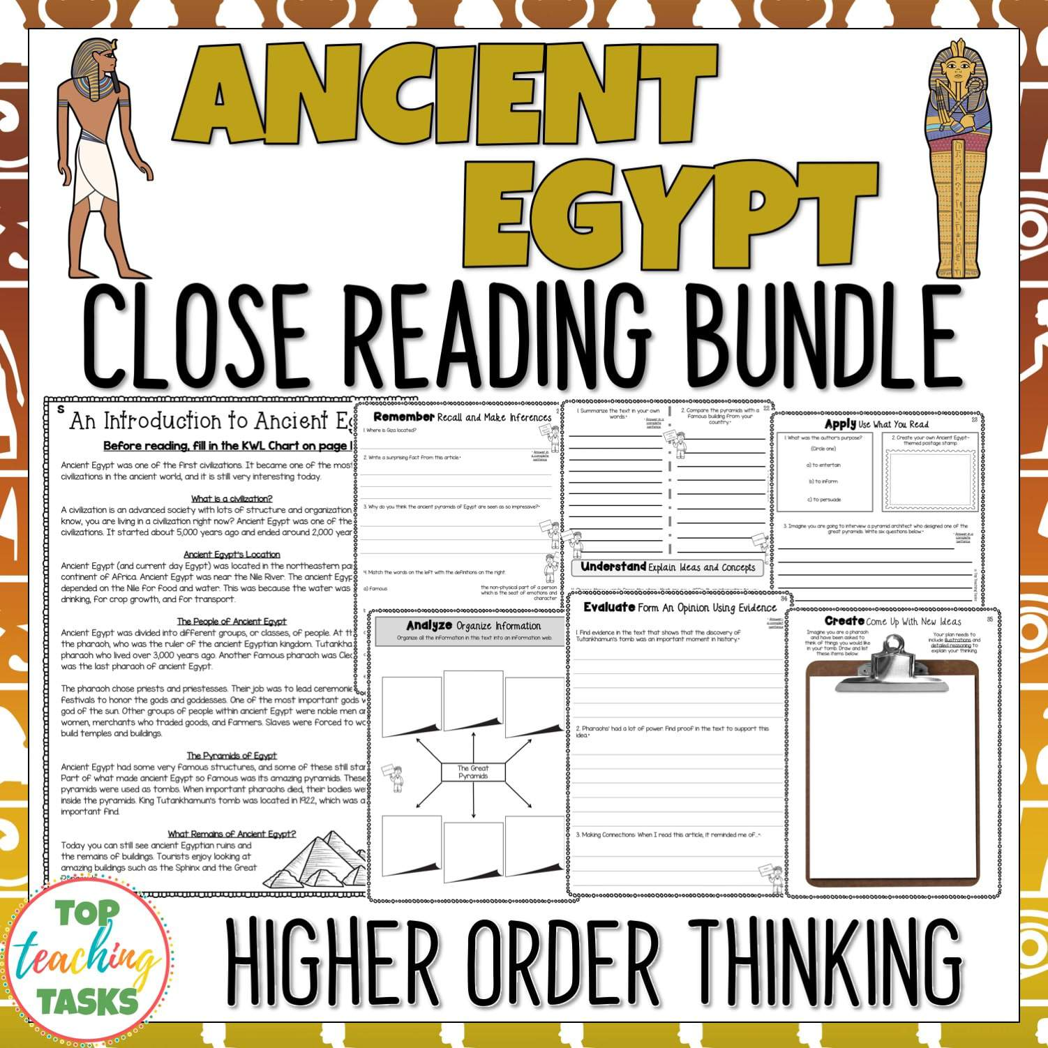 Ancient Egypt Reading Comprehension Passages And Questions Bundle