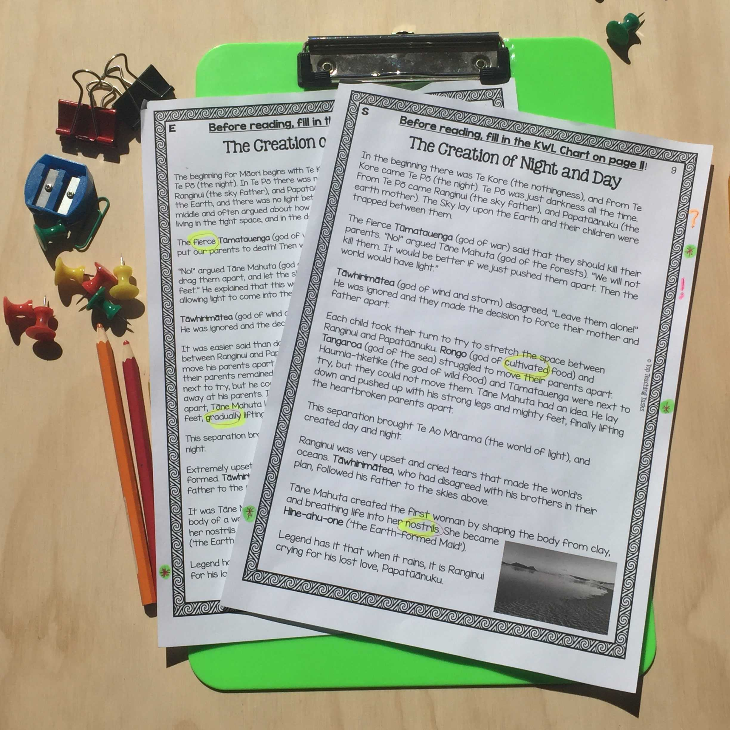 M Ori Myths And Legends Reading Texts And Activities