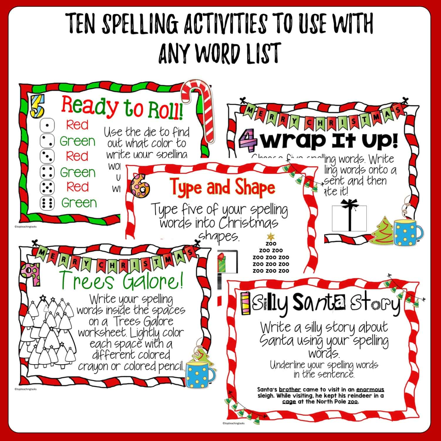 Christmas Spelling Activity Task Cards And Print And Go