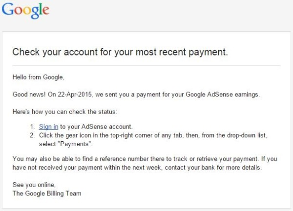 Google Adsense Monthly Payment