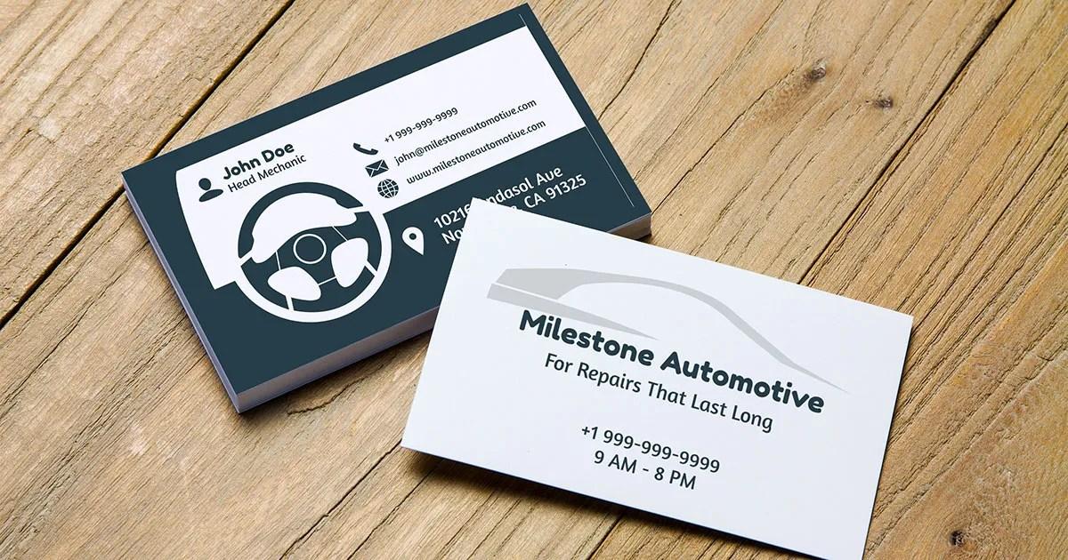 Car dashboard themed auto repair shop business card