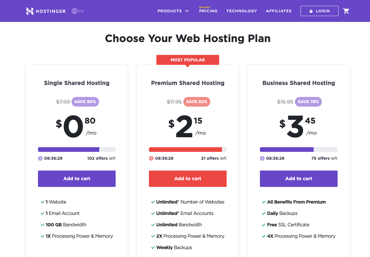 Hostinger Hosting Prices and Plans