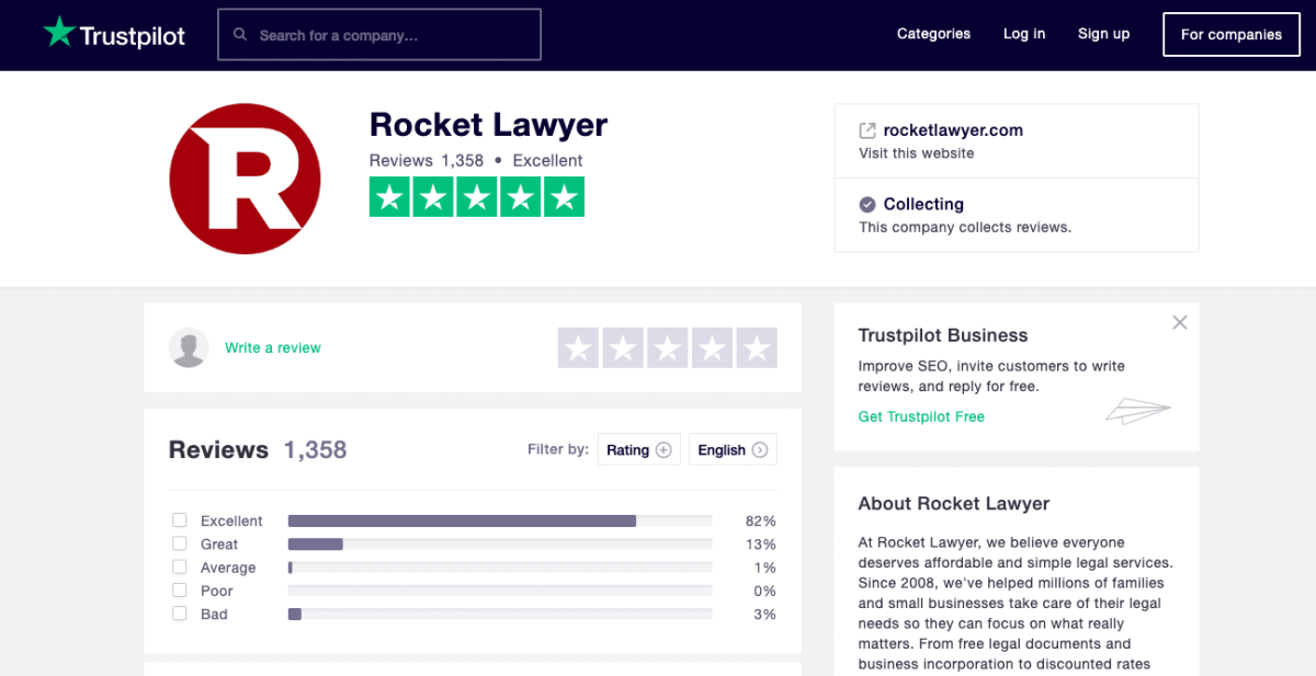 The Rocket Lawyer Trustpilot Reviews