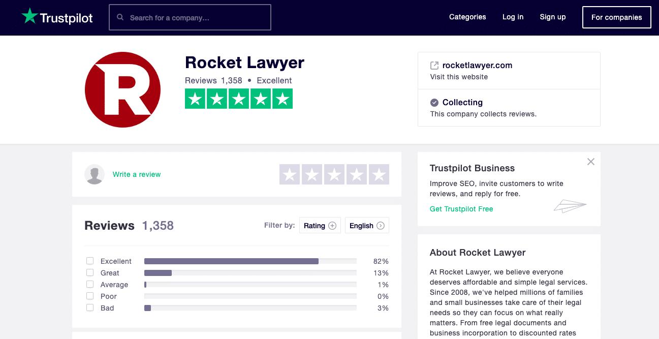 The Rocket Lawyer Trustpilot Reviews