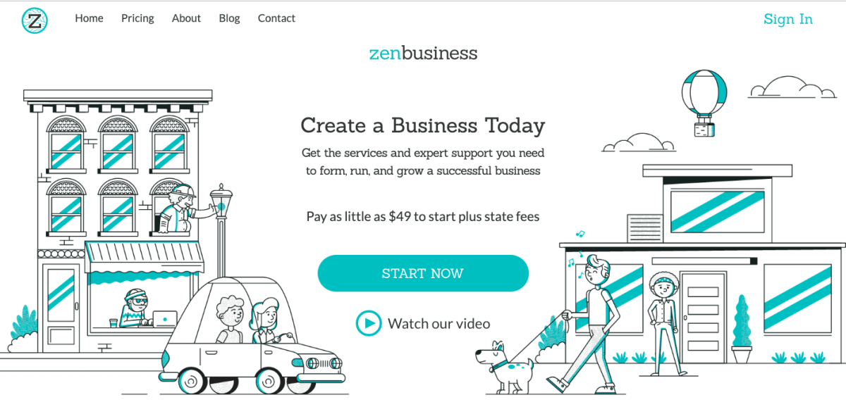 ZenBusiness new home page