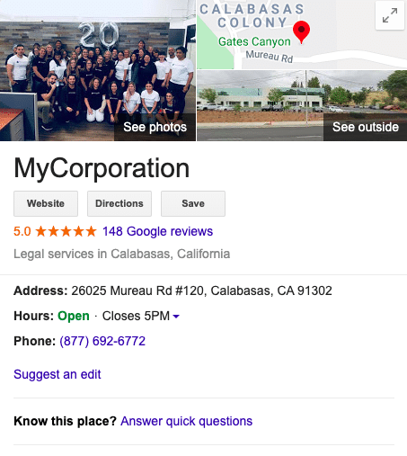 MyCorporation google reviews