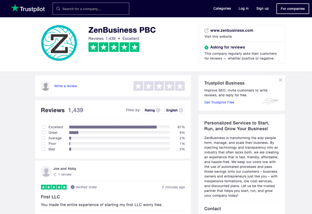 Trustpilot Zenbusiness 02 01 2020