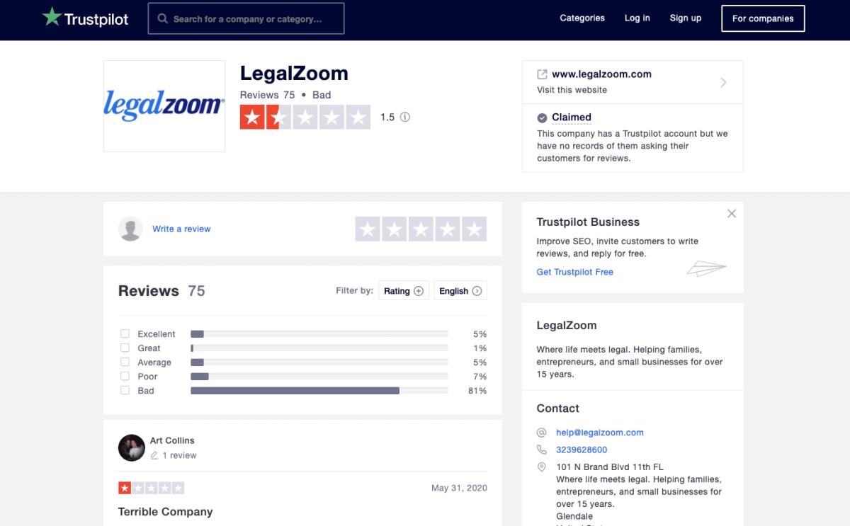 Legalzoom Trustpilot 2020