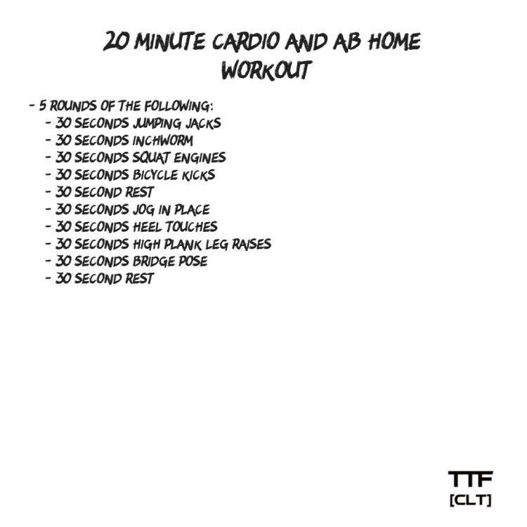 20 Minute Cardio and Ab home Workout