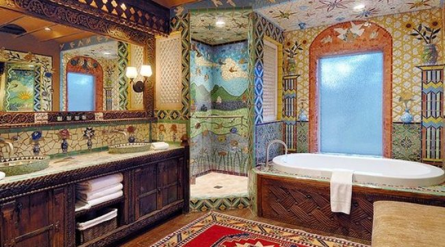 Colorful Bathroom Tiles, Inn of the Five Graces Hotels in US