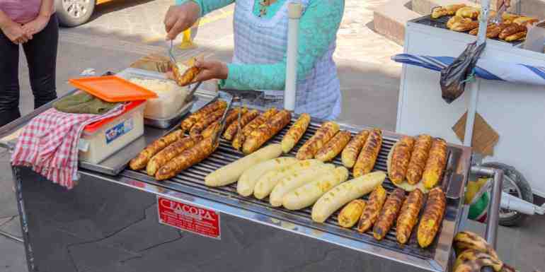 Grilled plantains, typical food in Ecuador