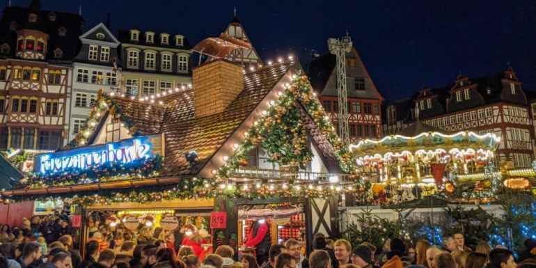 German Christmas market in Frankfurt, Germany