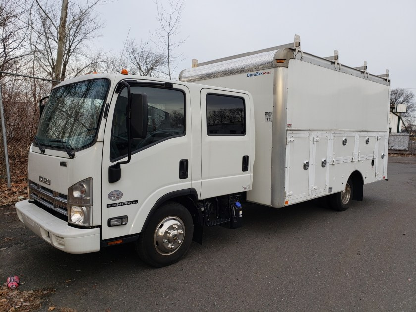 2014 Isuzu NPR HD Crew Cab with 14 Dejana Contractors Body