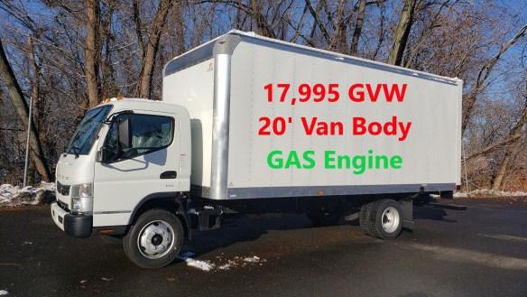 2020 Mitsubishi-Fuso FE180 Gas with 20' Supreme Alum Van Body, 17,995 GVW.  Selling Price - $58,495
