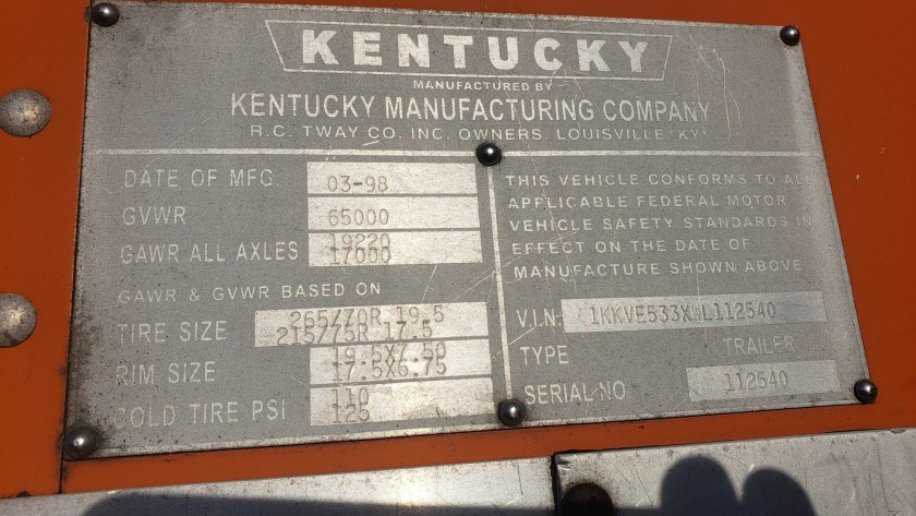 1998 Kentucky 53 Moving Van Trailer