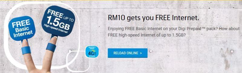 Internet Percuma Digi Dengan Tambah Nilai