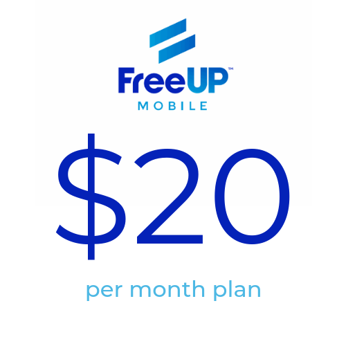 FreeUP Mobile $20 1GB 4G LTE Data Unlimited Global Talk & Text Plan AT&T  Network