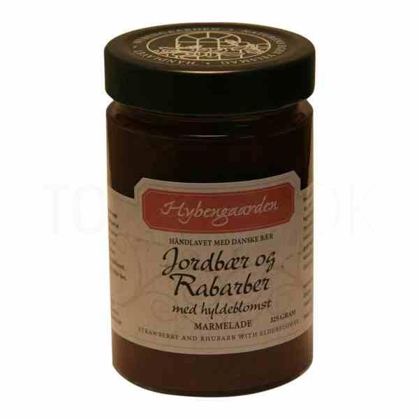 Topvine Hybengaarden jordbaer og rabarber marmelade