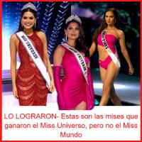 LO LOGRARON- Estas son las mises que ganaron el Miss Universo, pero no el Miss Mundo