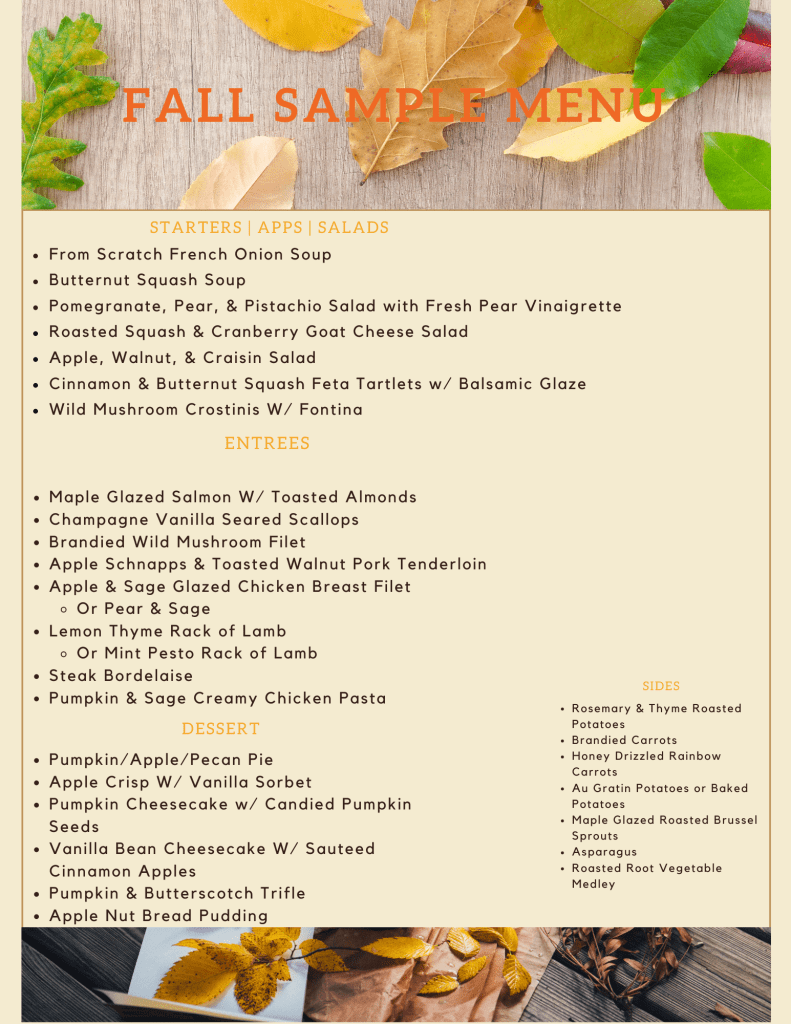 Fall Menu Ideas with Top Water Cooking Private Chef Servies
