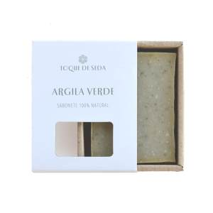 sabonete artesanal de argila verde em caixa de cartão
