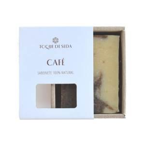 sabonete esfoliante de café em caixa de cartão