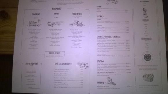 Carte des plats/déjeuners/brunchs