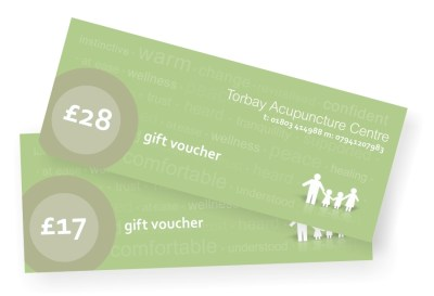 Acupuncture gift vouchers. Torbay Acupuncture Centre acupuncture diagnosis and treatment voucher and subsiquent acupuncture treatment gift vouchers.
