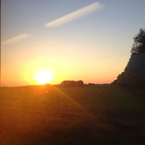 The sun going down over Lower Saxony, Germany