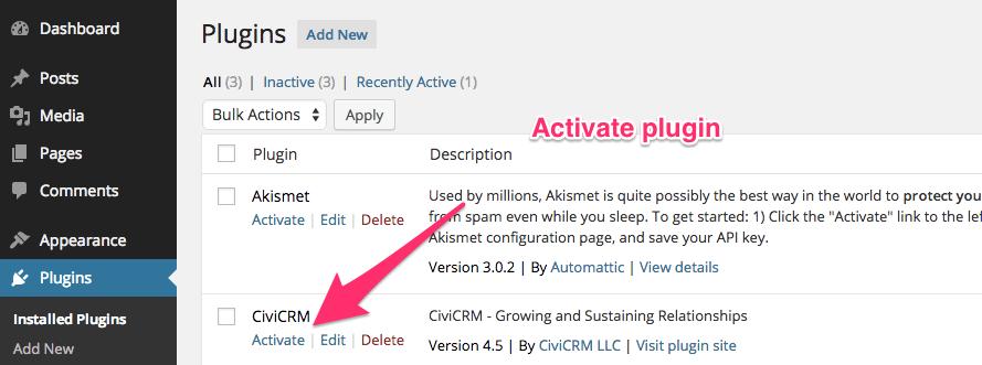 Activate CiviCRM plugin
