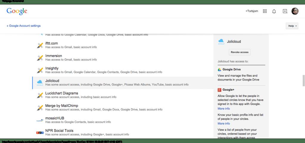 Google Account Permissions - Account Settings