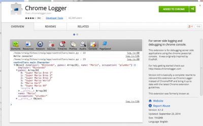 Chrome Logger - Chrome Web Store
