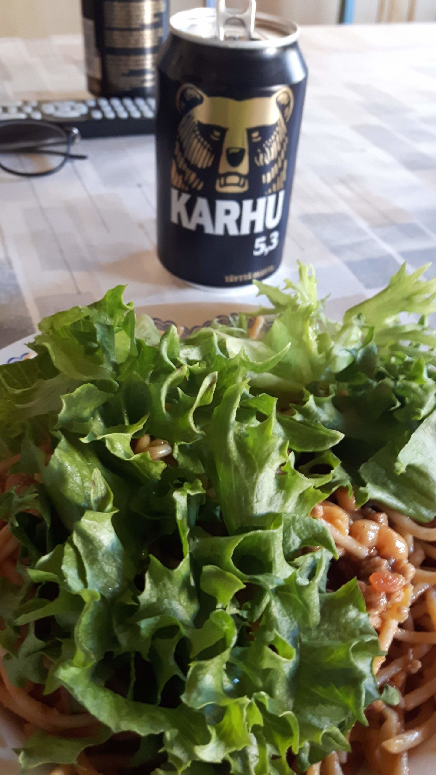 A Karhu Beer with Pasta Voutso Finland