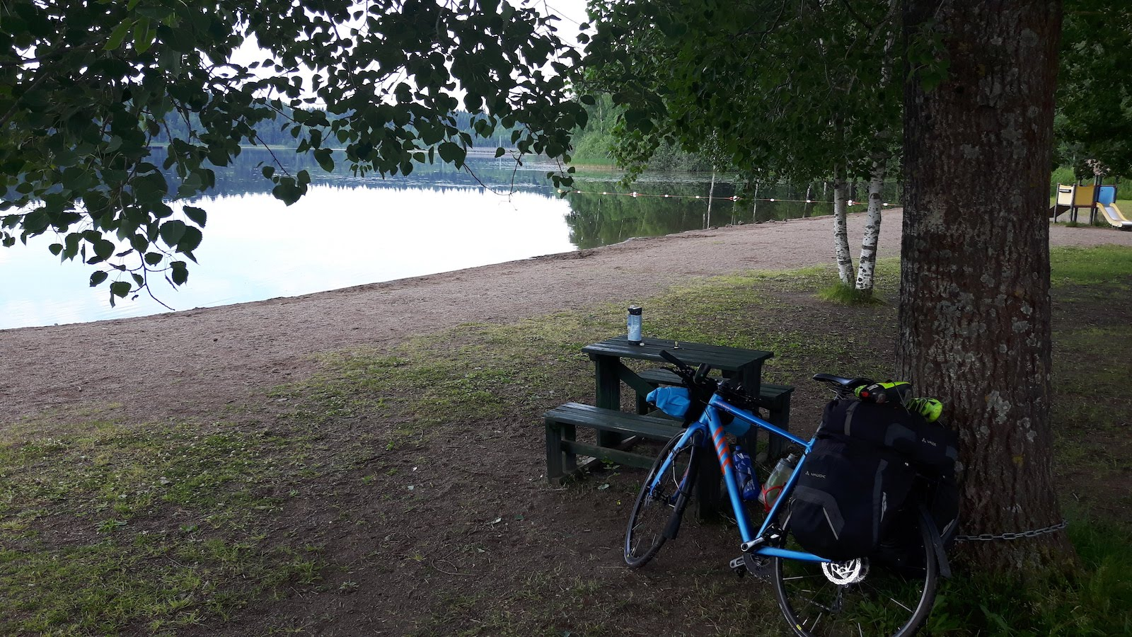 Breakfast at lake near Tampere Finland