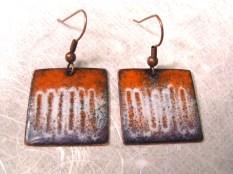 Orange Purple white earrings