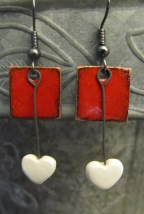 Enameled Red Squares with my handmade clay heart drops.
